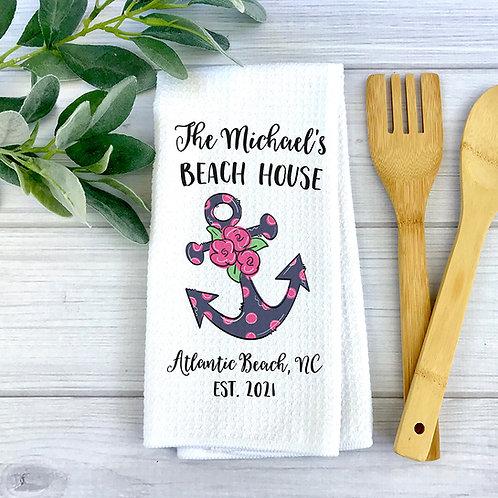 Polka dot anchor beach house towel