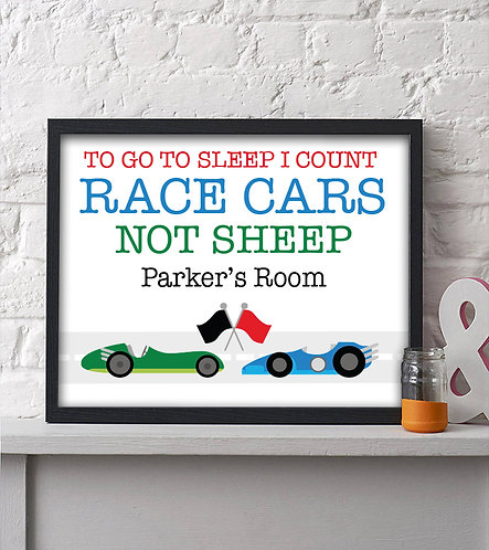 personalized racing print for boys room