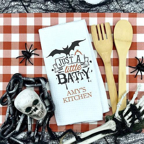 Just a little batty comical halloween towel