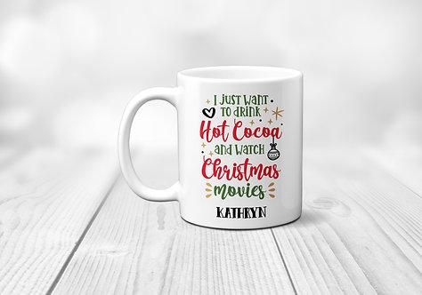 drink hot coco green and red Christmas mug