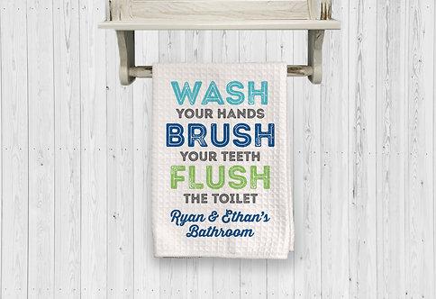 WASH FLUSH BRUSH PERSONALIZED BATHROOM towels