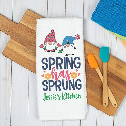 personalized spring has sprung kitchen towel