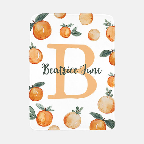 Personalized clementine monogram blanket