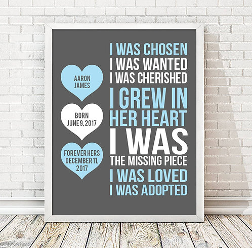 Blue Heart Adoption Day Print