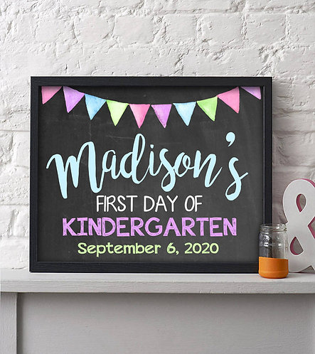 Personalized Girl First Day Of School Print