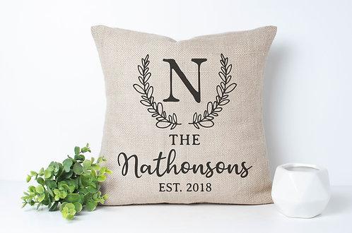 personalized monogram leaf print pillow