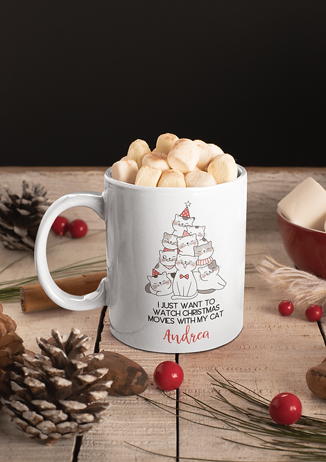Personalized I Want To Watch Christmas Movies With My Cat Mug