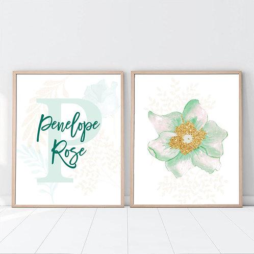 monogram set of 2 flower print