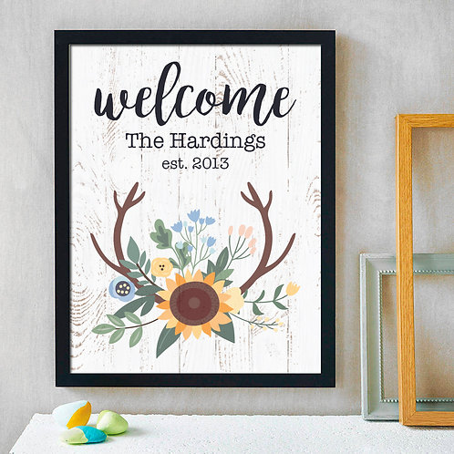 sunflower rustic welcome print