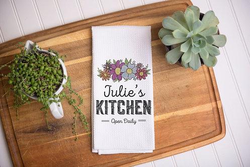 fall floral design kitchen towel