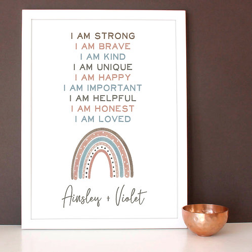 personalized pastel rainbow print with words of affirmation