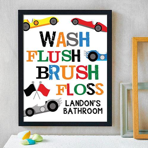 colorful boys racecar bathroom print