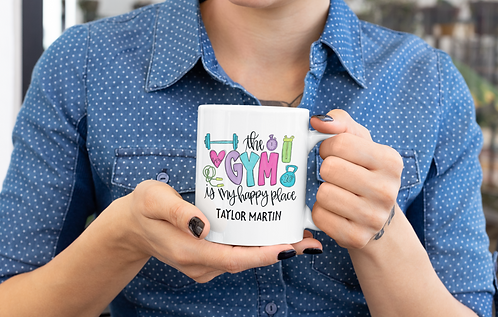 Personalized The Gym Is My Happy Place Mug