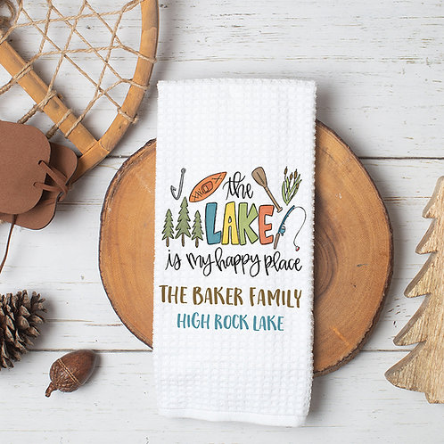 the lake is my happy place kitchen towel