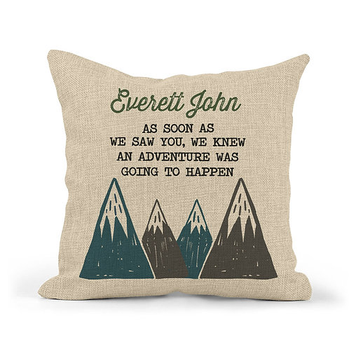 personalized boys nursery pillow with mountain design