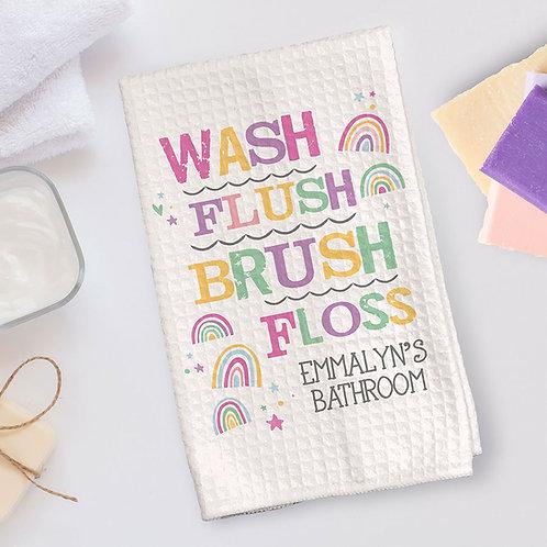 wash flush brush floss bathroom towel