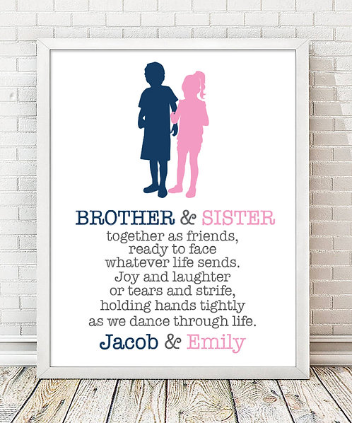 brother and sisters blue and pink print