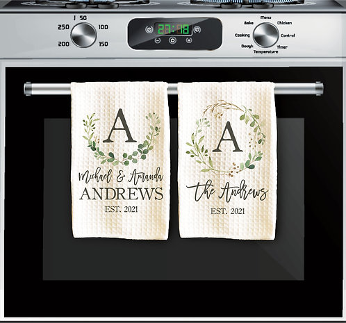 set of two eucalyptus personalized towel