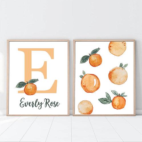 set of 2 monogram oranges print