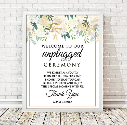 floral unplugged ceremony print