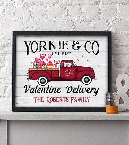 Yorkie Valentines Day Print
