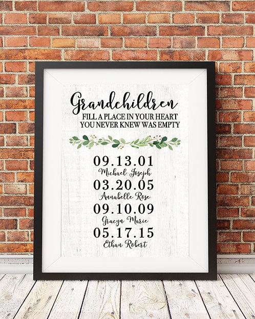 Grandchildren dates print