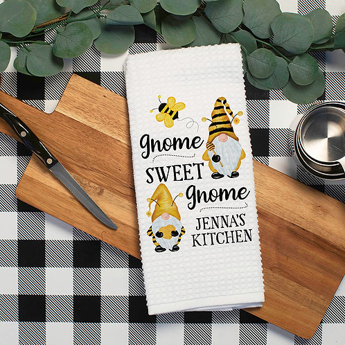 gnome sweet gnome kitchen towel