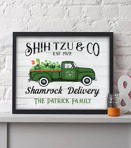 shih tzu & co shamrock delivery truck print