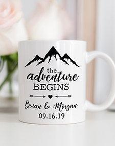 The Adventure Begins Personalized Anniversary Mug