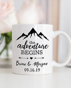 The Adventure Begins Personalized Anniversary Mug