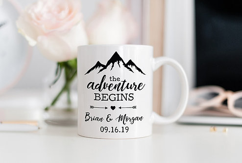 The Adventure Begins Anniversary Mug