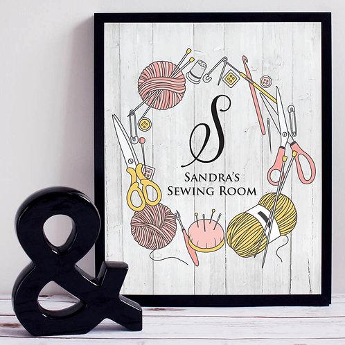 Monogram Sewing Room Print