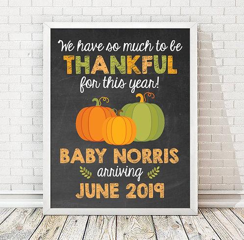 Thanksgiving Pumpkins, Baby Announcement
