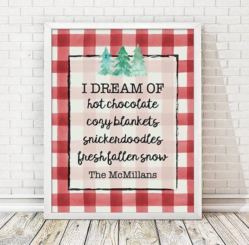 plaid christmas hot chocolate plaid print
