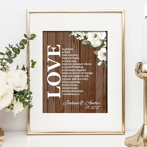 Rustic Wood Love Is Wedding Print