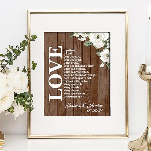 Rustic Wood Love Is Wedding Print