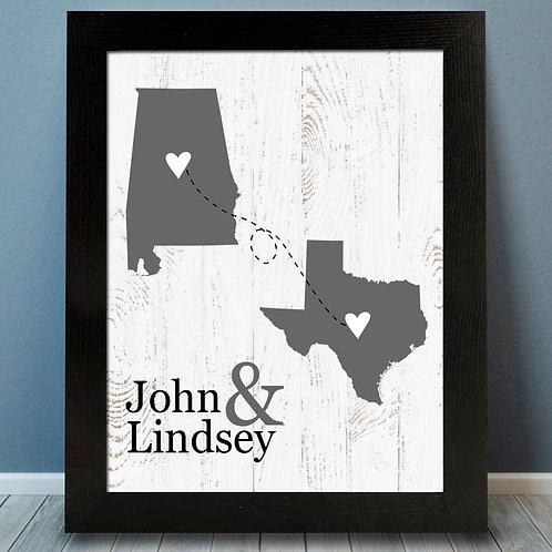 two state rustic long distance print