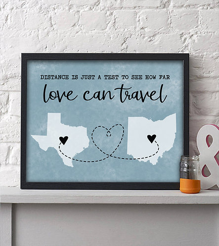 two state long distance map print