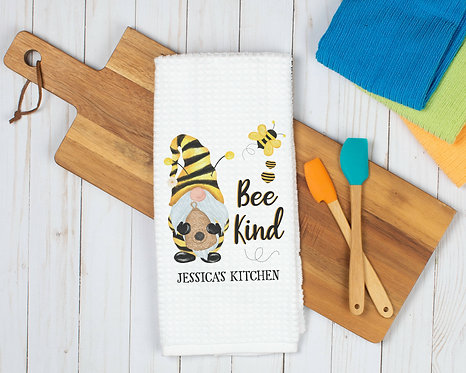 personalized bee kind kitchen towel