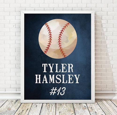 blue baseball print for boys bedroom
