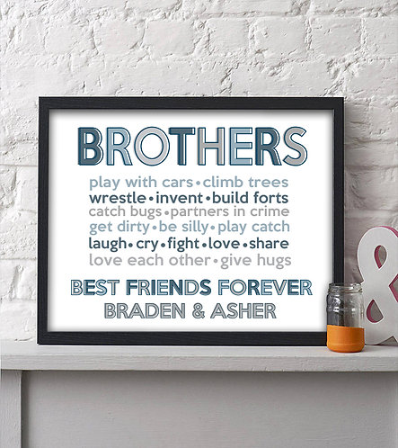 Personalized Brothers Best Friends Forever Print