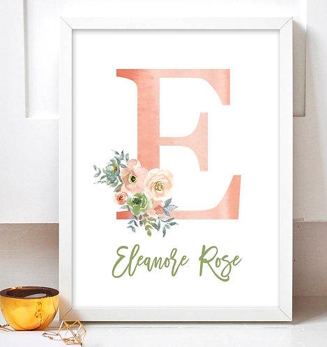pink floral monogram print