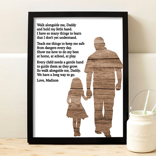 Personalized Dad Walk Along Side Daughter Print
