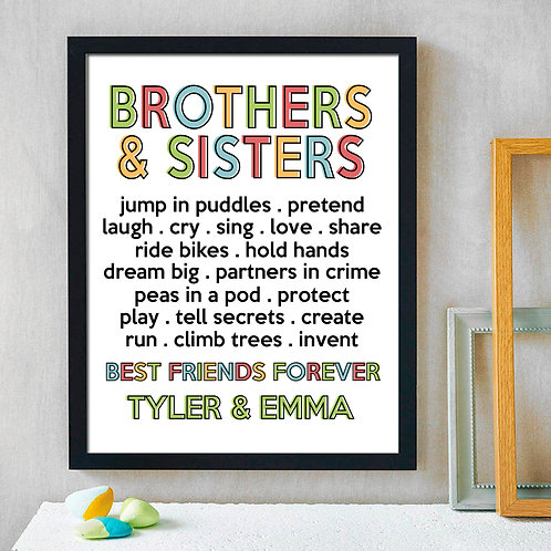 personalized brothers & sisters collage