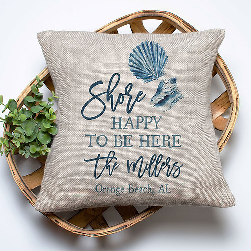 personalized shore happy to be here pillow