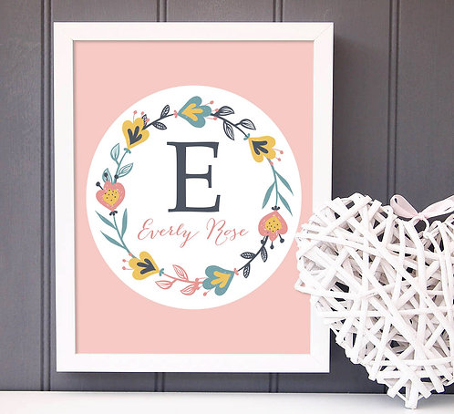 Pink Floral Personalized Print that is a perfect gift for any girl