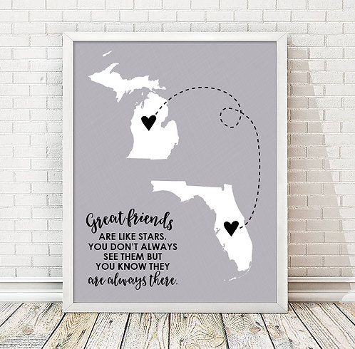 Personalized Great Friends Are Like Stars Long Distance Print