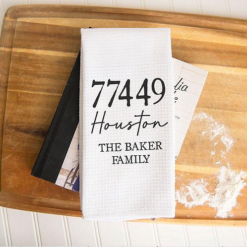 personalized zip code kitchen towel