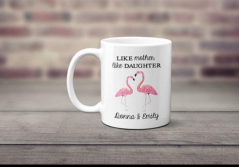 mother daughter pink flamingo mug