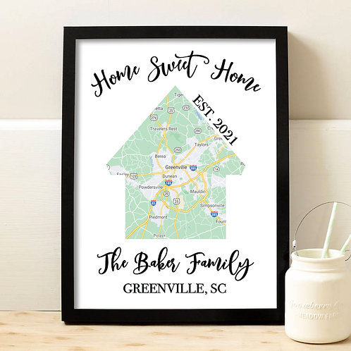Home sweet home google map print